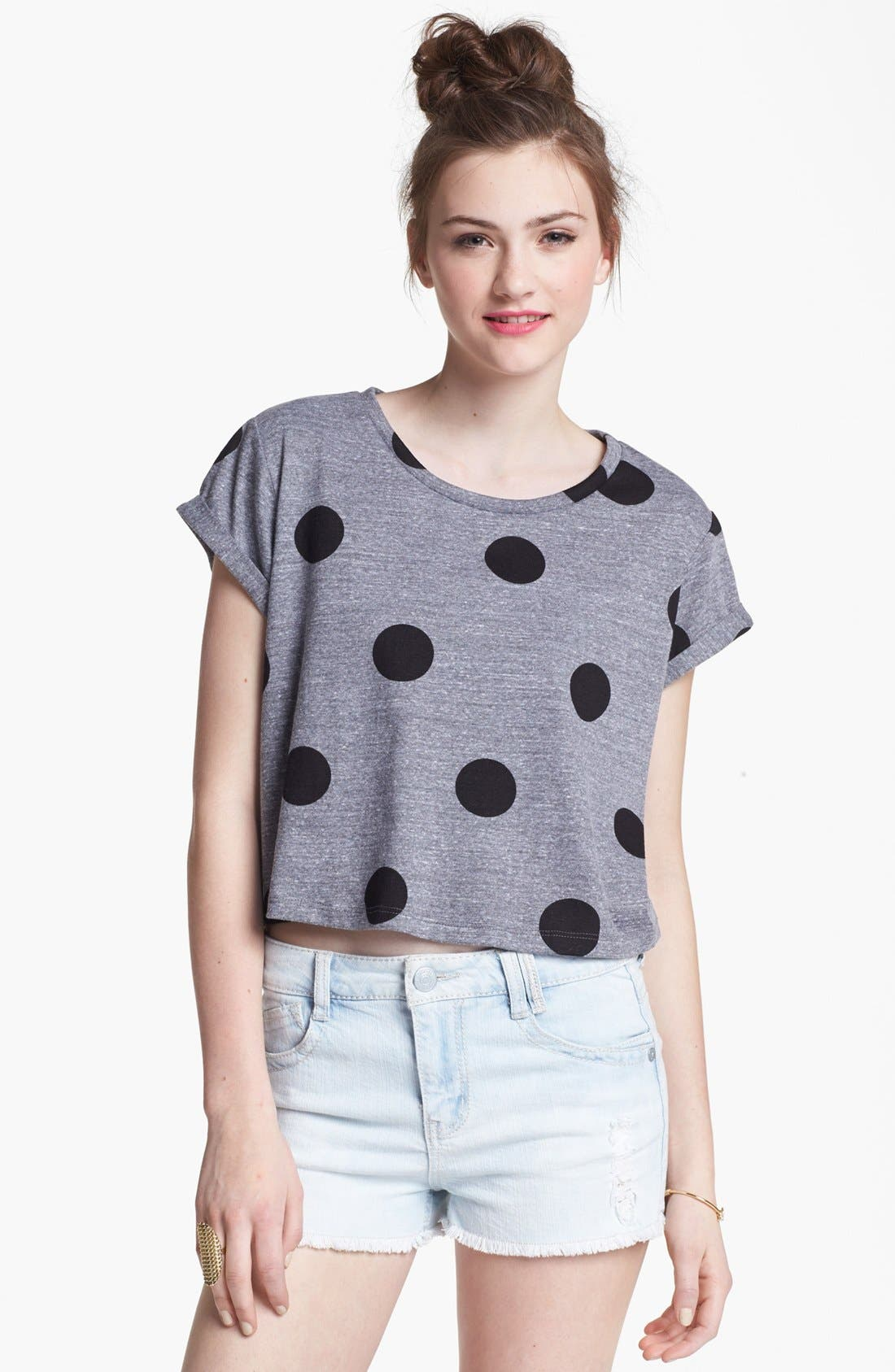 Alternate Image 1 Selected - Lush Print Crop Tee (Juniors)