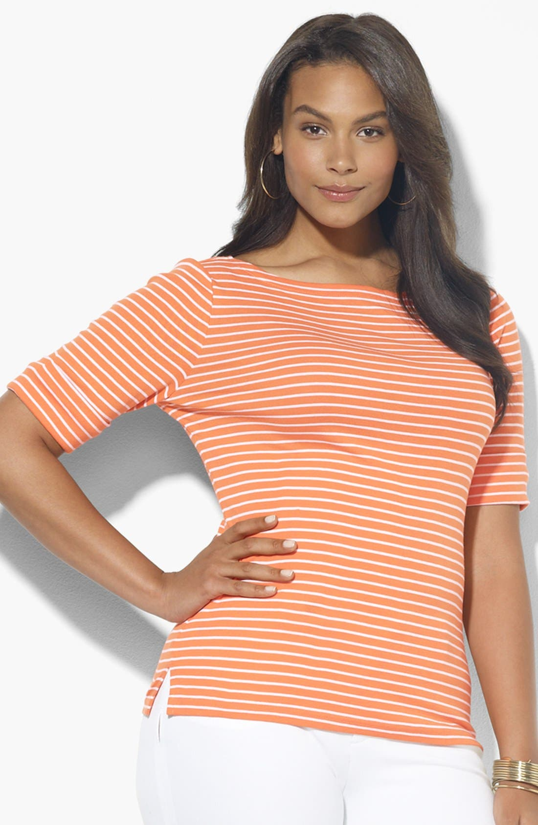 Alternate Image 1 Selected - Lauren Ralph Lauren Stripe Boatneck Top (Plus Size)