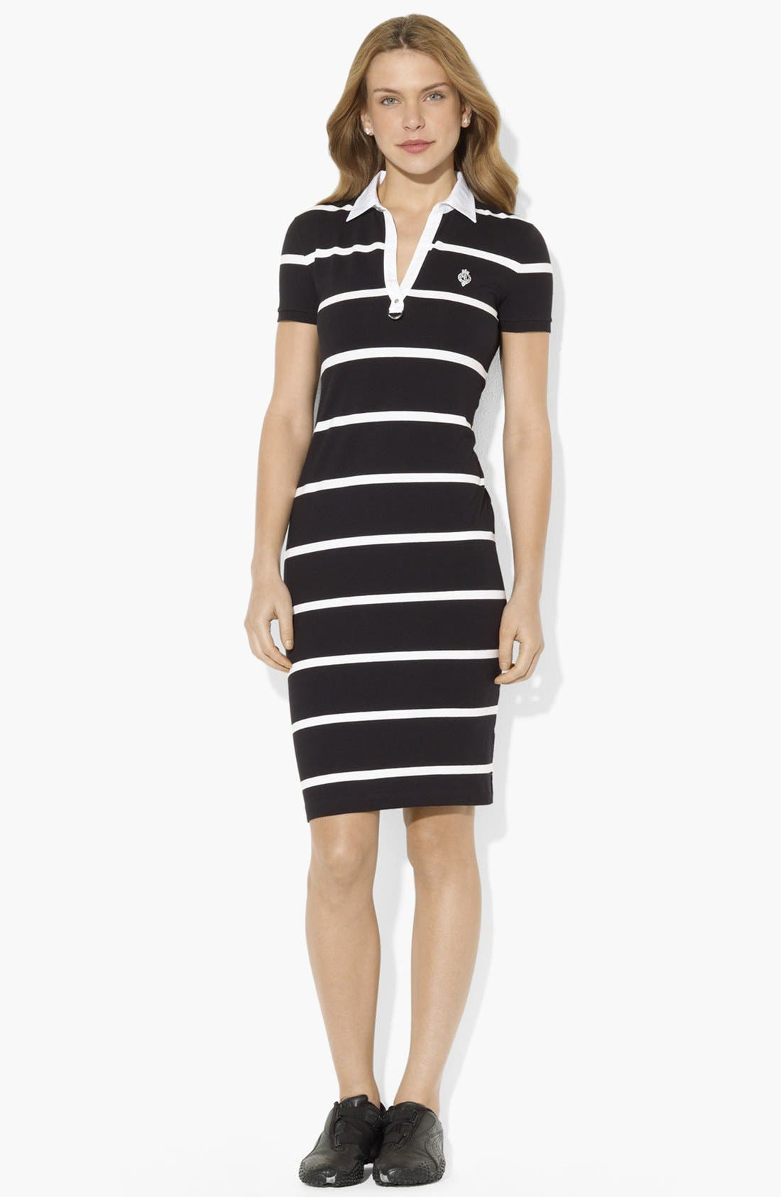Main Image - Lauren Ralph Lauren Split Neck Stripe Polo Dress