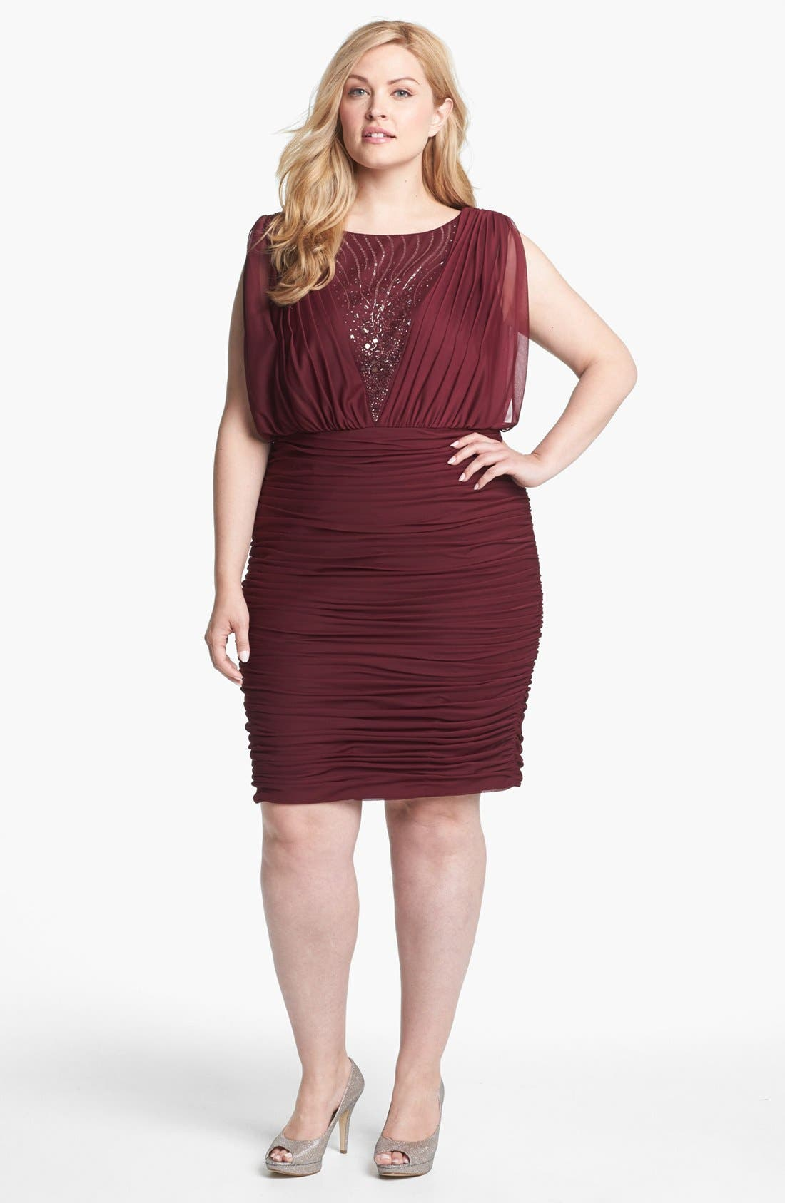 Alternate Image 1 Selected - Adrianna Papell Embellished Mesh Ruched Dress (Plus Size)