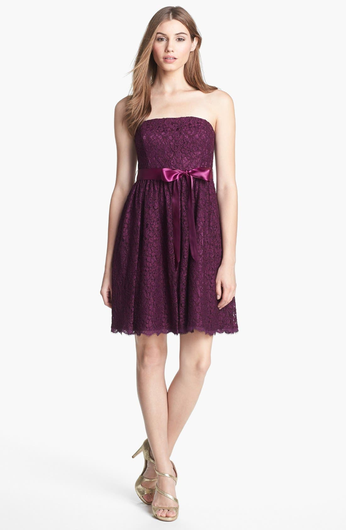 Alternate Image 3  - Adrianna Papell Strapless Lace Fit & Flare Dress