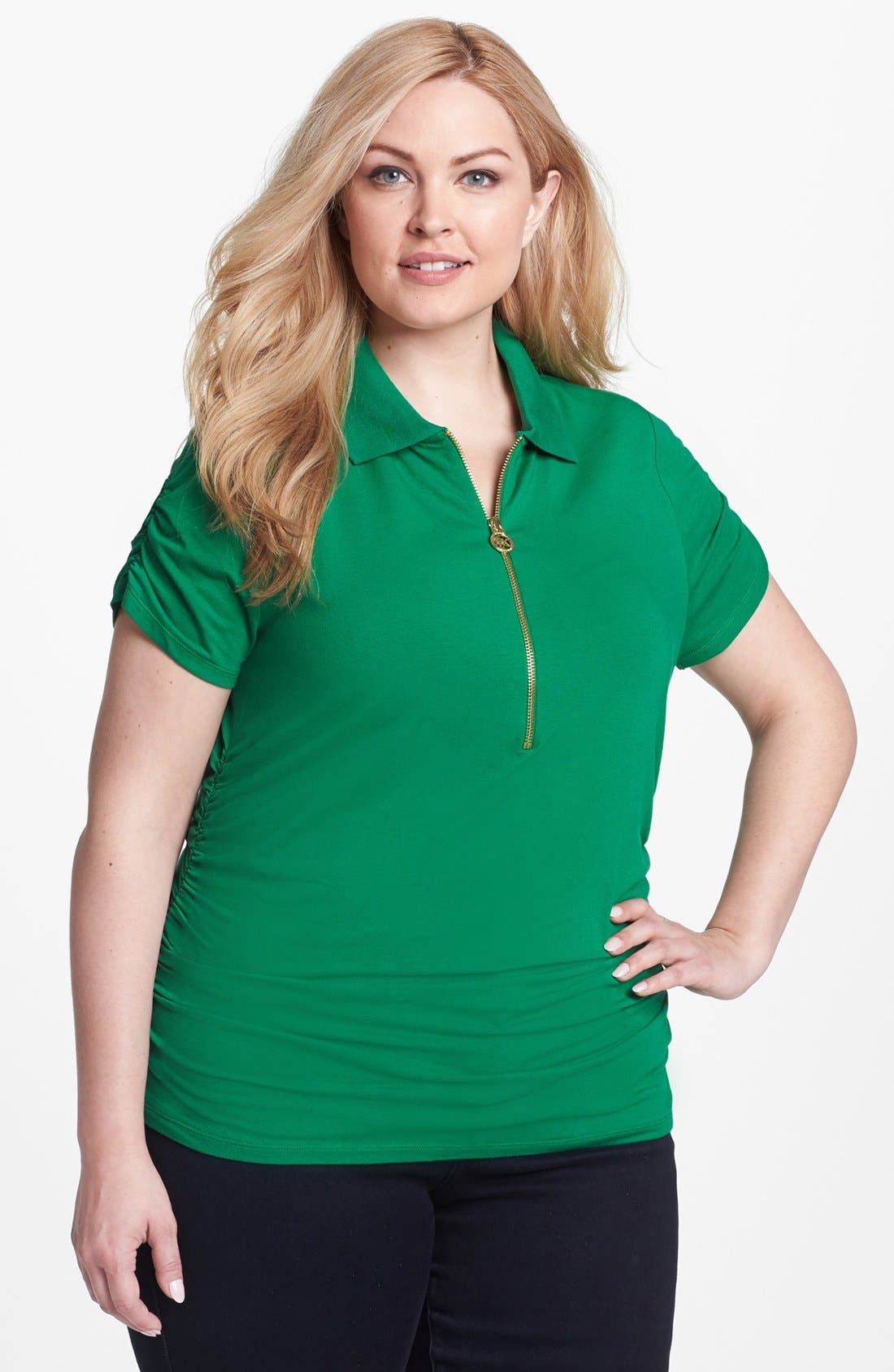 Alternate Image 1 Selected - MICHAEL Michael Kors Ruched Short Sleeve Polo (Plus Size)