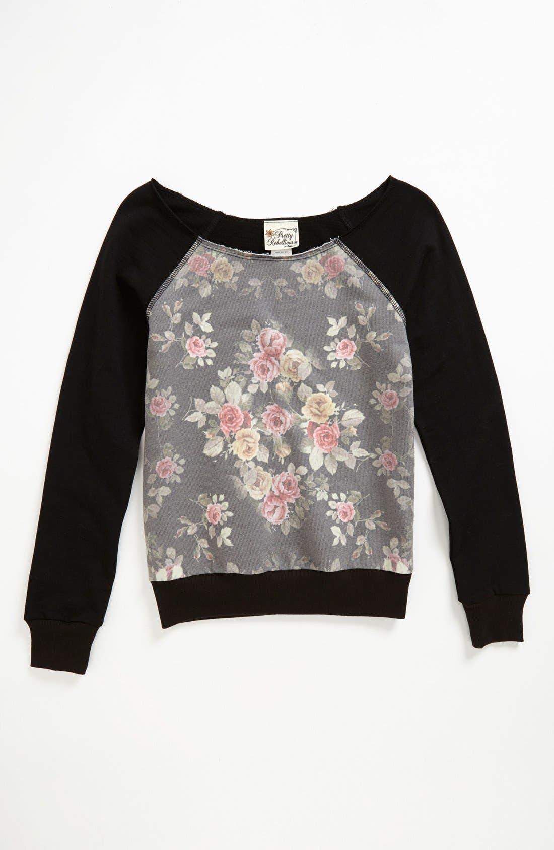 Main Image - Pretty Rebellious Floral Inset Sweatshirt (Big Girls)