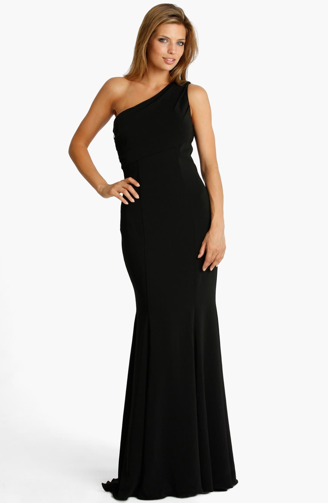 Alternate Image 1 Selected - JS Collections One Shoulder Jersey Gown