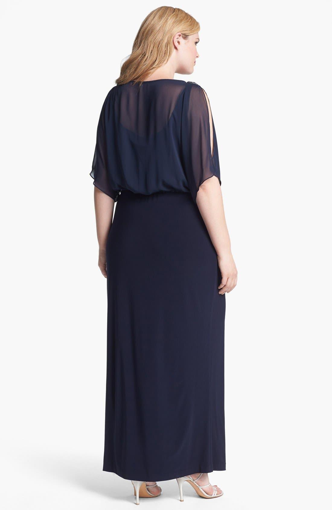 Alternate Image 2  - Xscape Embellished Blouson Bodice Jersey Dress (Plus Size)