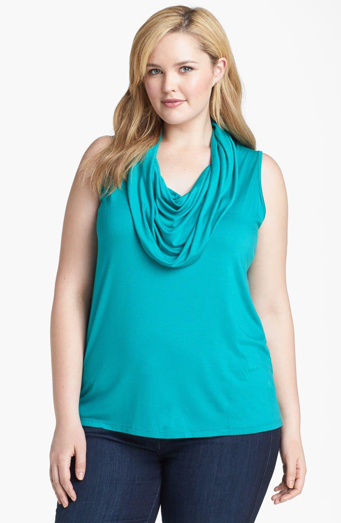 Alternate Image 1 Selected - Karen Kane Sleeveless Cowl Neck Top (Plus Size)