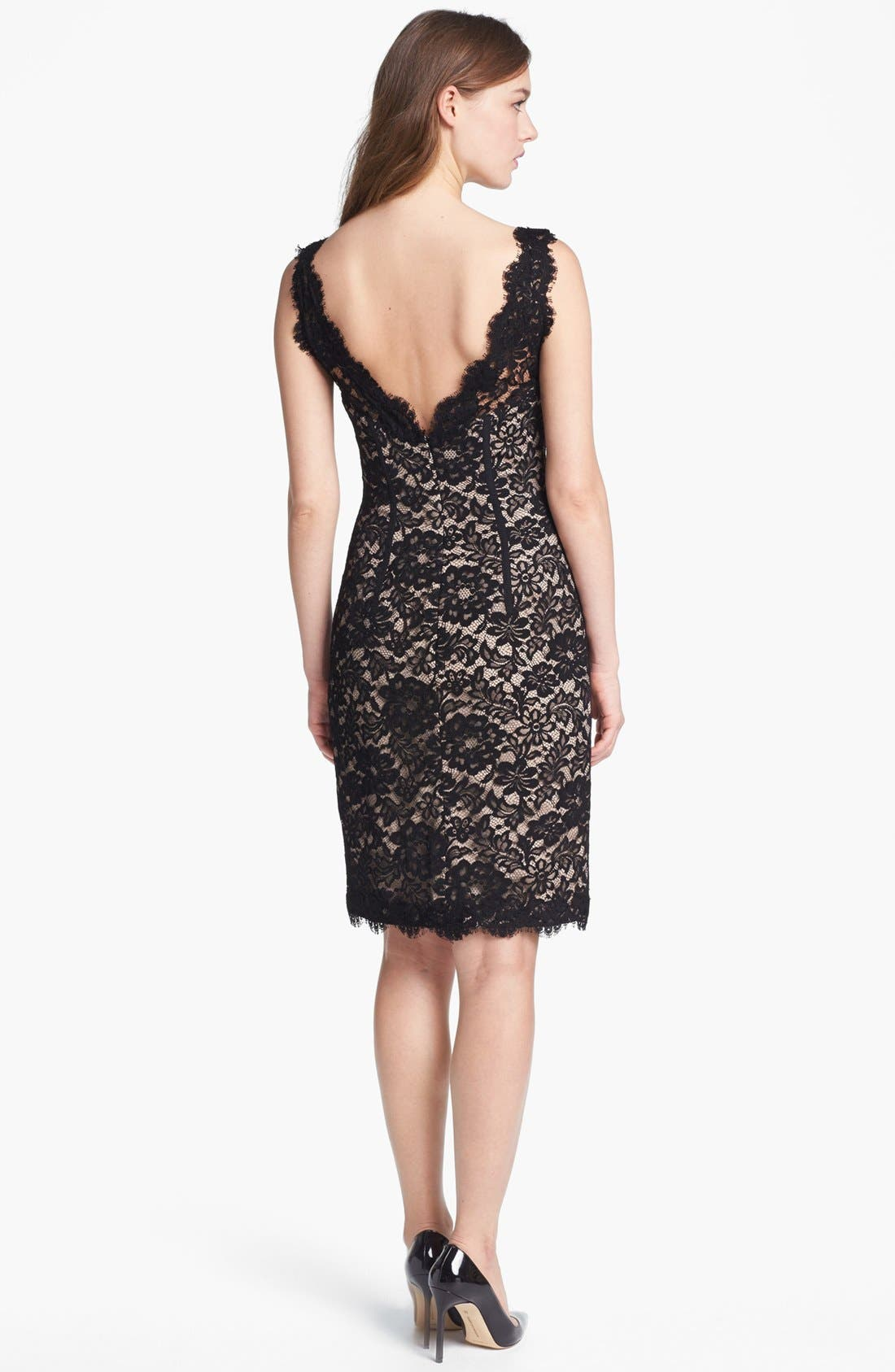 Alternate Image 2  - ML Monique Lhuillier Sleeveless Lace Sheath Dress