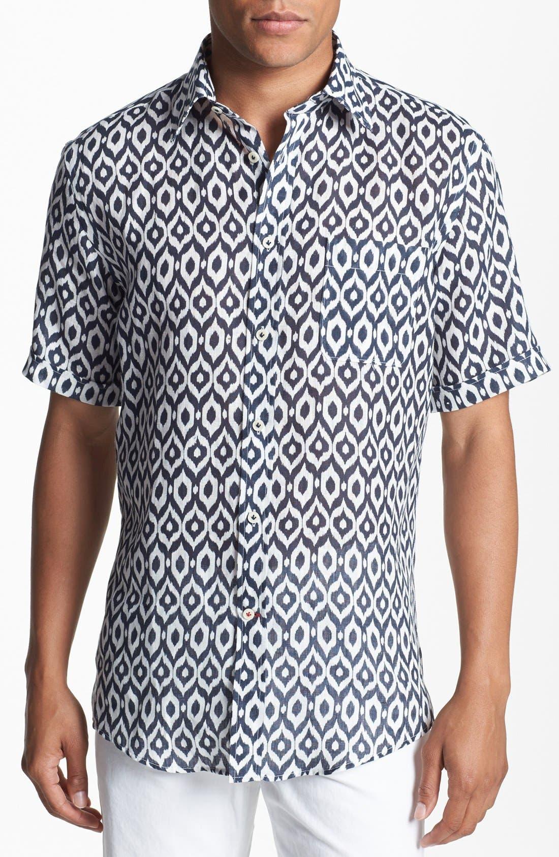 Main Image - Benson Ikat Print Short Sleeve Sport Shirt