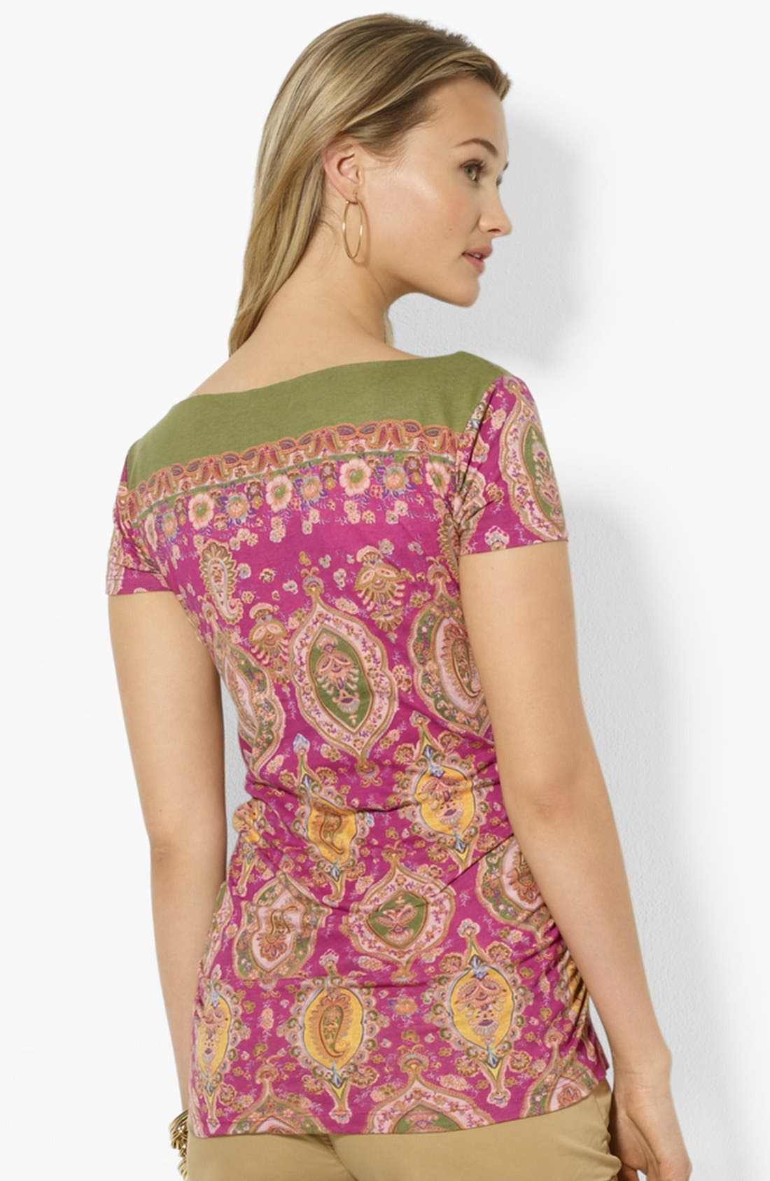 Alternate Image 2  - Lauren Ralph Lauren Boatneck Print Top (Petite)