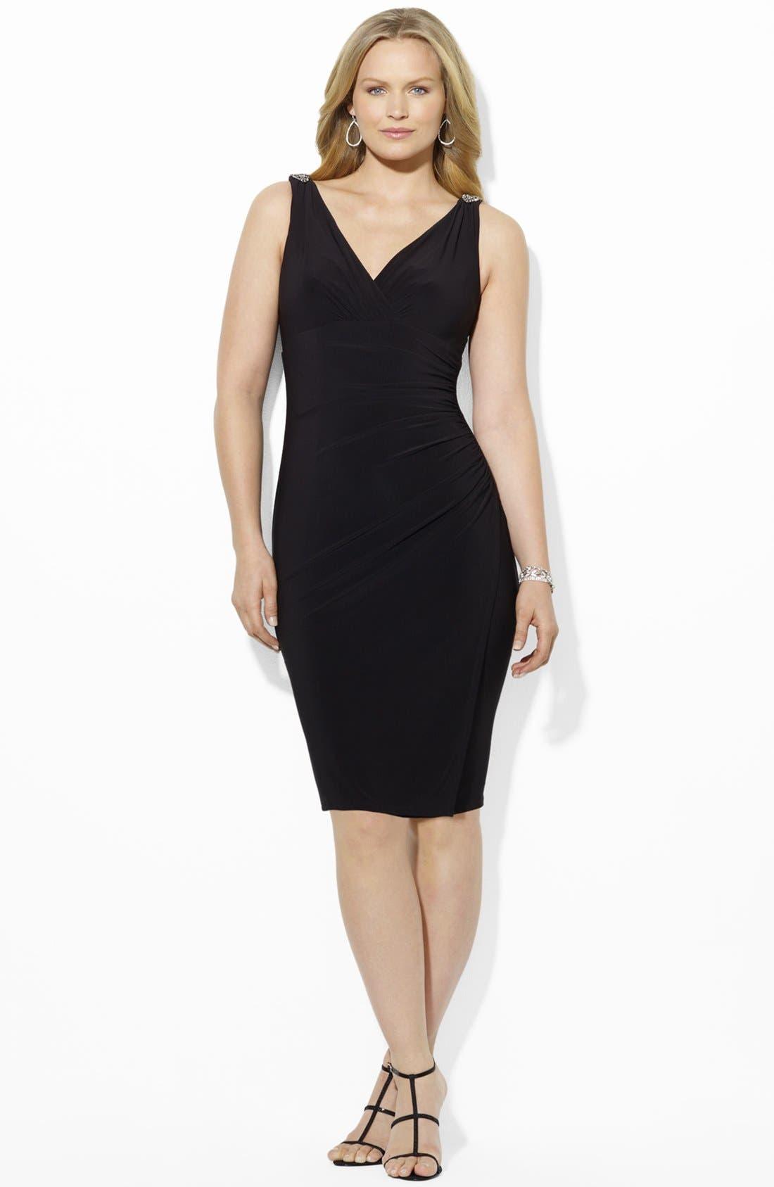 Main Image - Lauren Ralph Lauren Embellished Matte Jersey Dress (Plus Size)