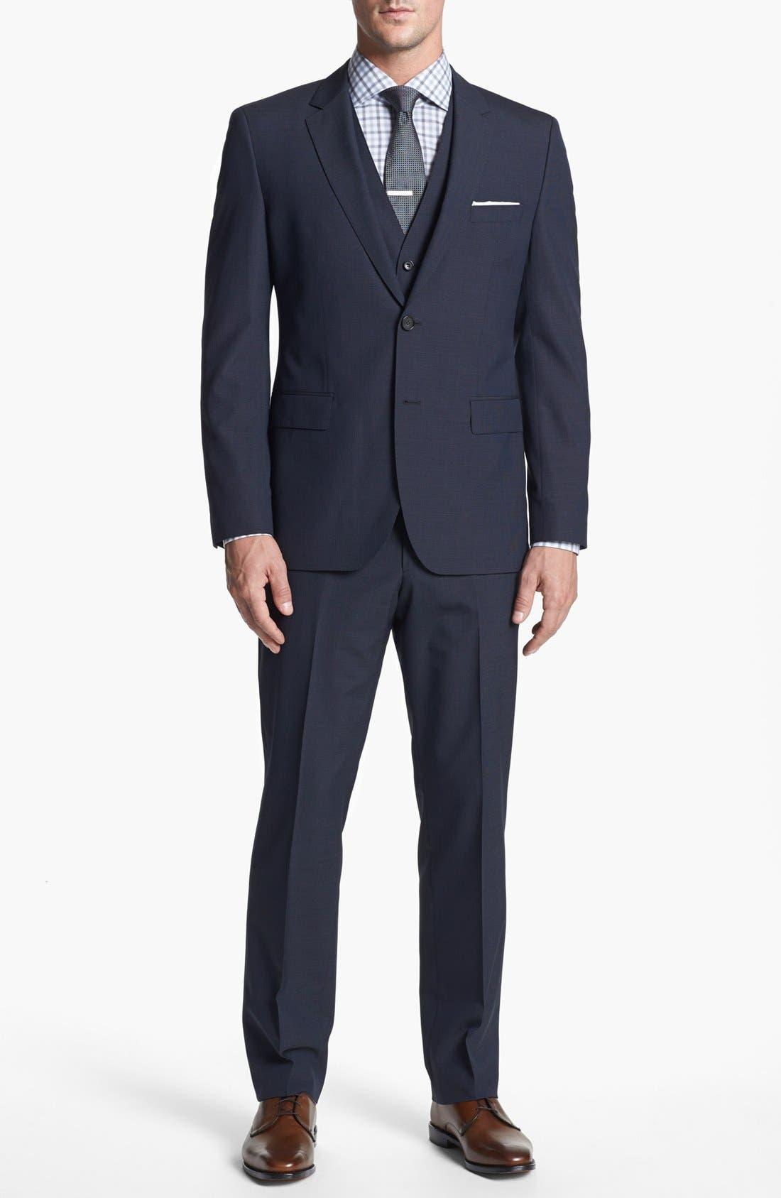 Alternate Image 1 Selected - BOSS HUGO BOSS 'James/Sharp' Trim Fit Three-Piece Suit