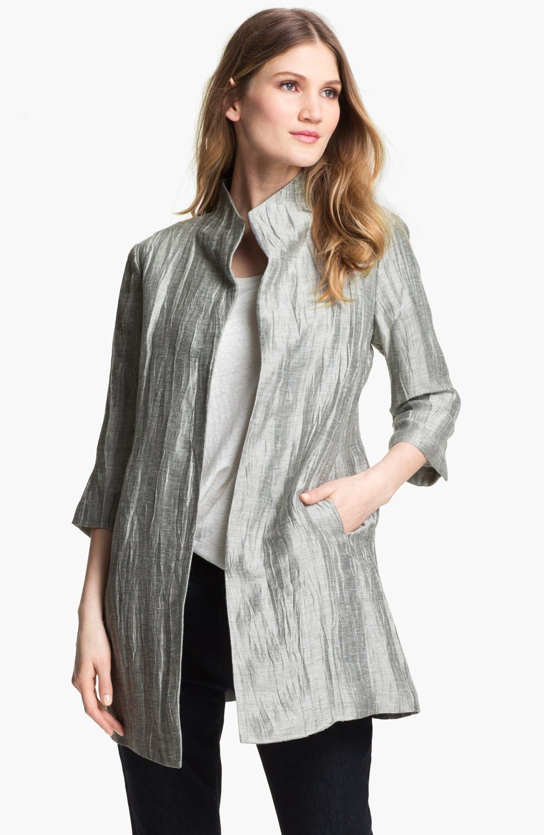 Alternate Image 1 Selected - Eileen Fisher Crinkled Linen Jacket (Petite)