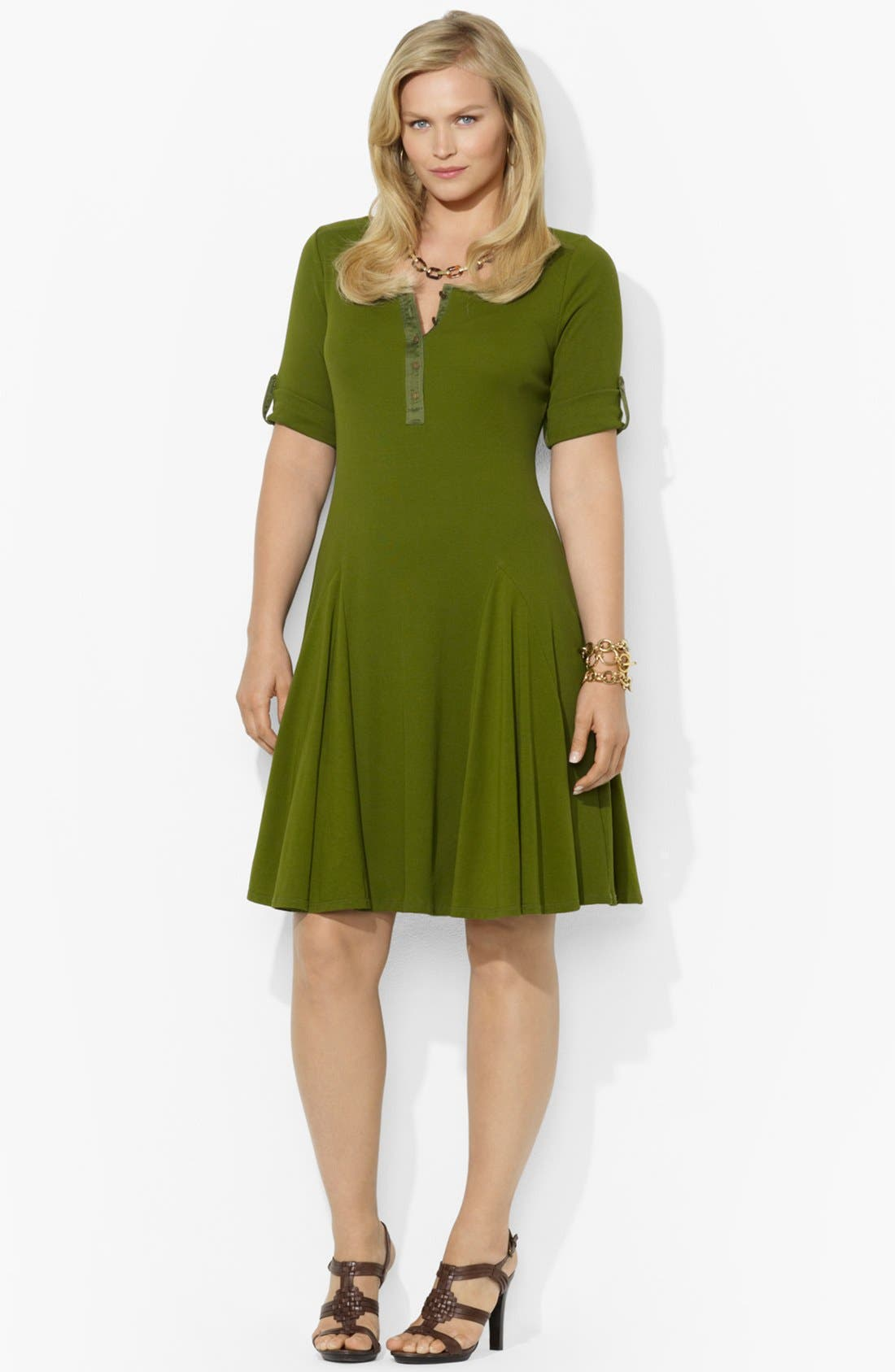 Alternate Image 1 Selected - Lauren Ralph Lauren Henley Fit & Flare Dress (Plus Size)