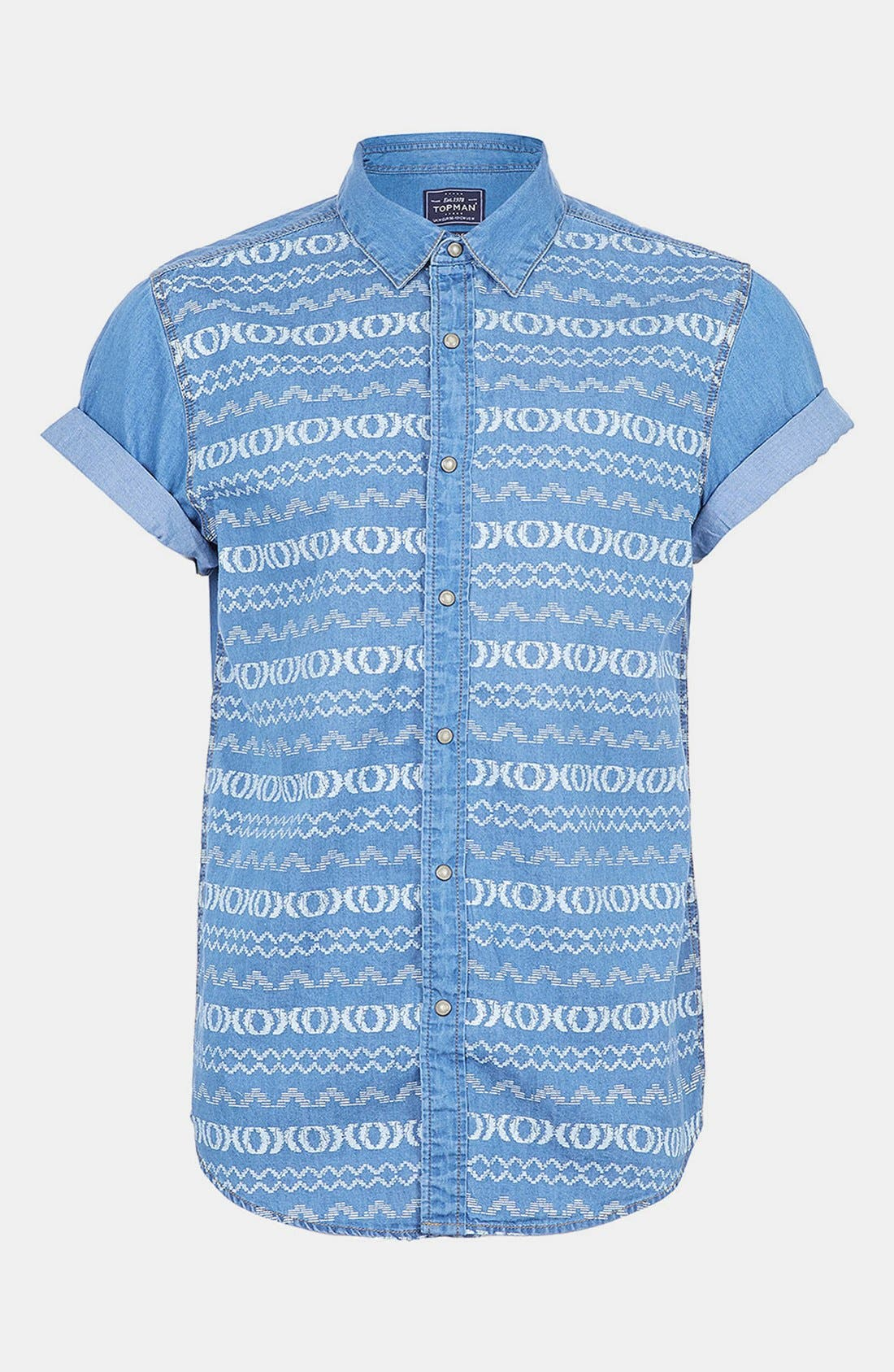 Main Image - Topman Short Sleeve Pattern Print Denim Shirt
