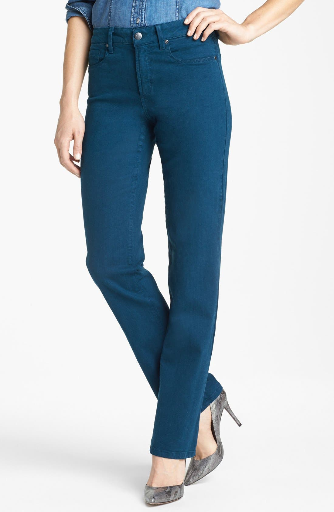 Main Image - NYDJ 'Marilyn' Colored Stretch Straight Leg Jeans