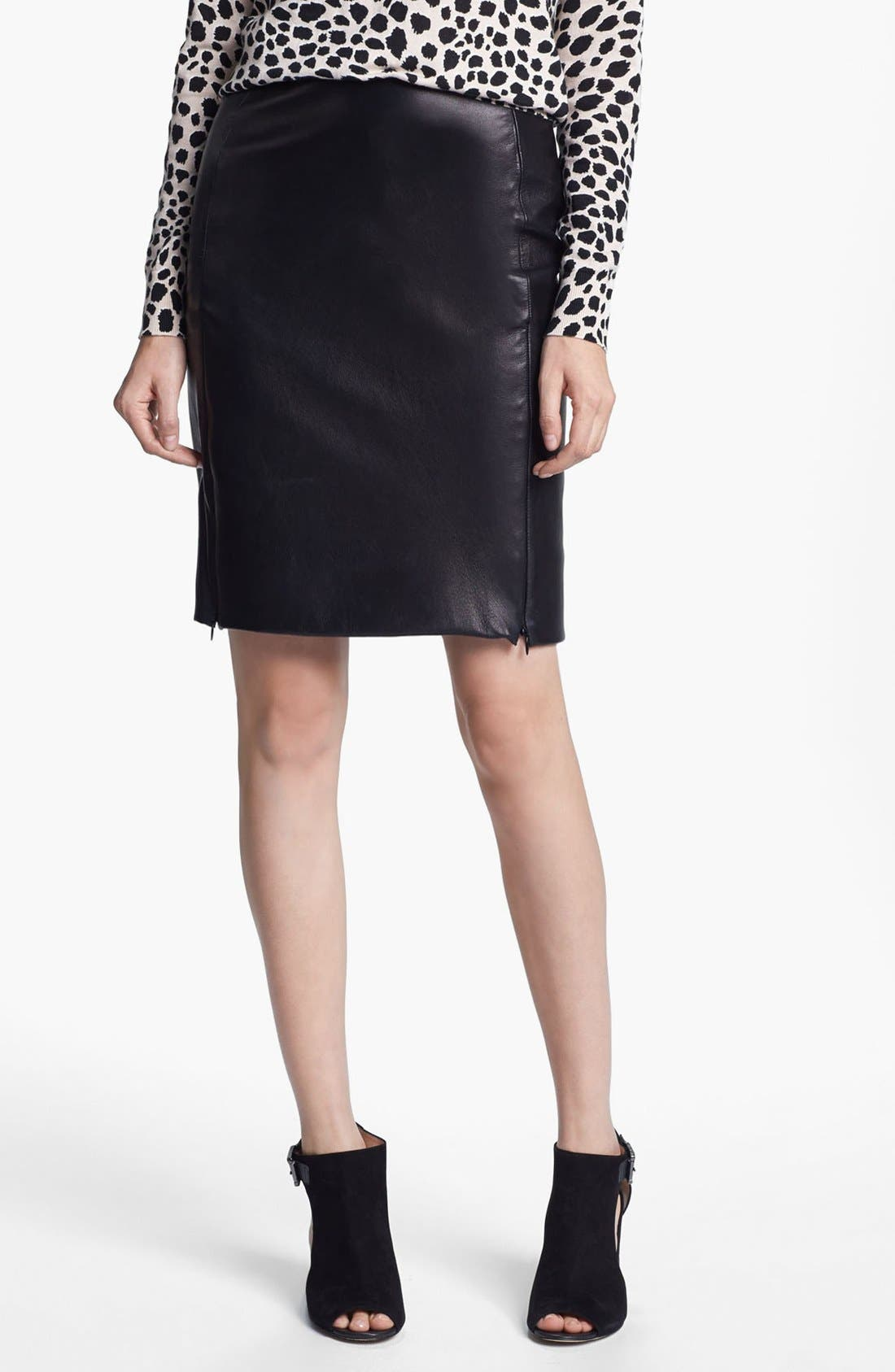 Alternate Image 1 Selected - Diane von Furstenberg 'Rita 2' Leather Pencil Skirt