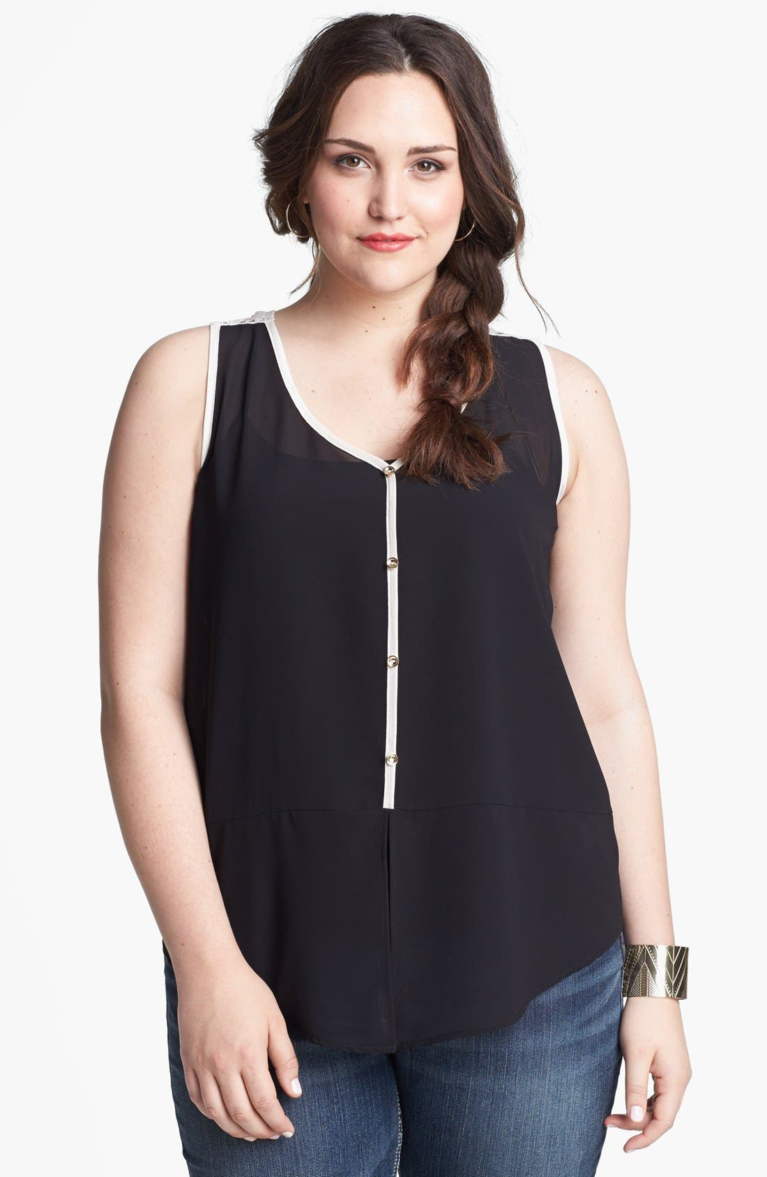 Alternate Image 1 Selected - Painted Threads Lace Back Tank (Juniors Plus)