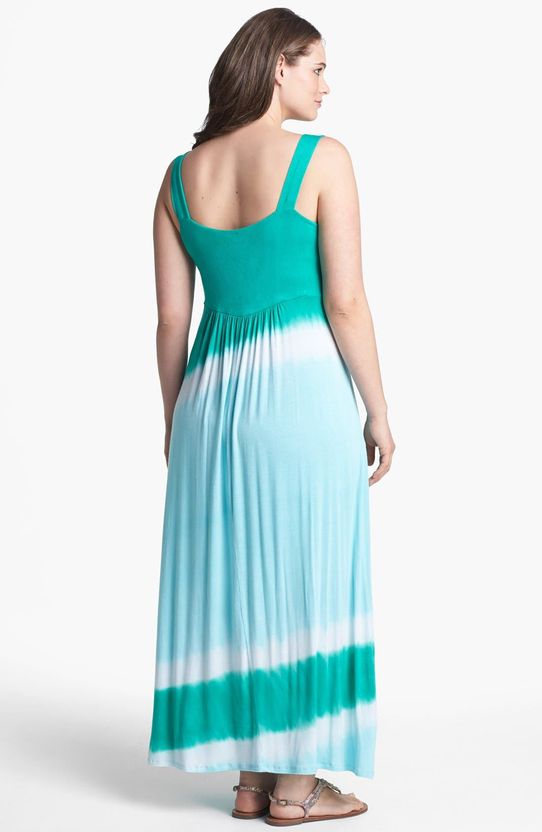 Alternate Image 2  - Loveappella Tie Dye Jersey Maxi Dress (Plus Size)