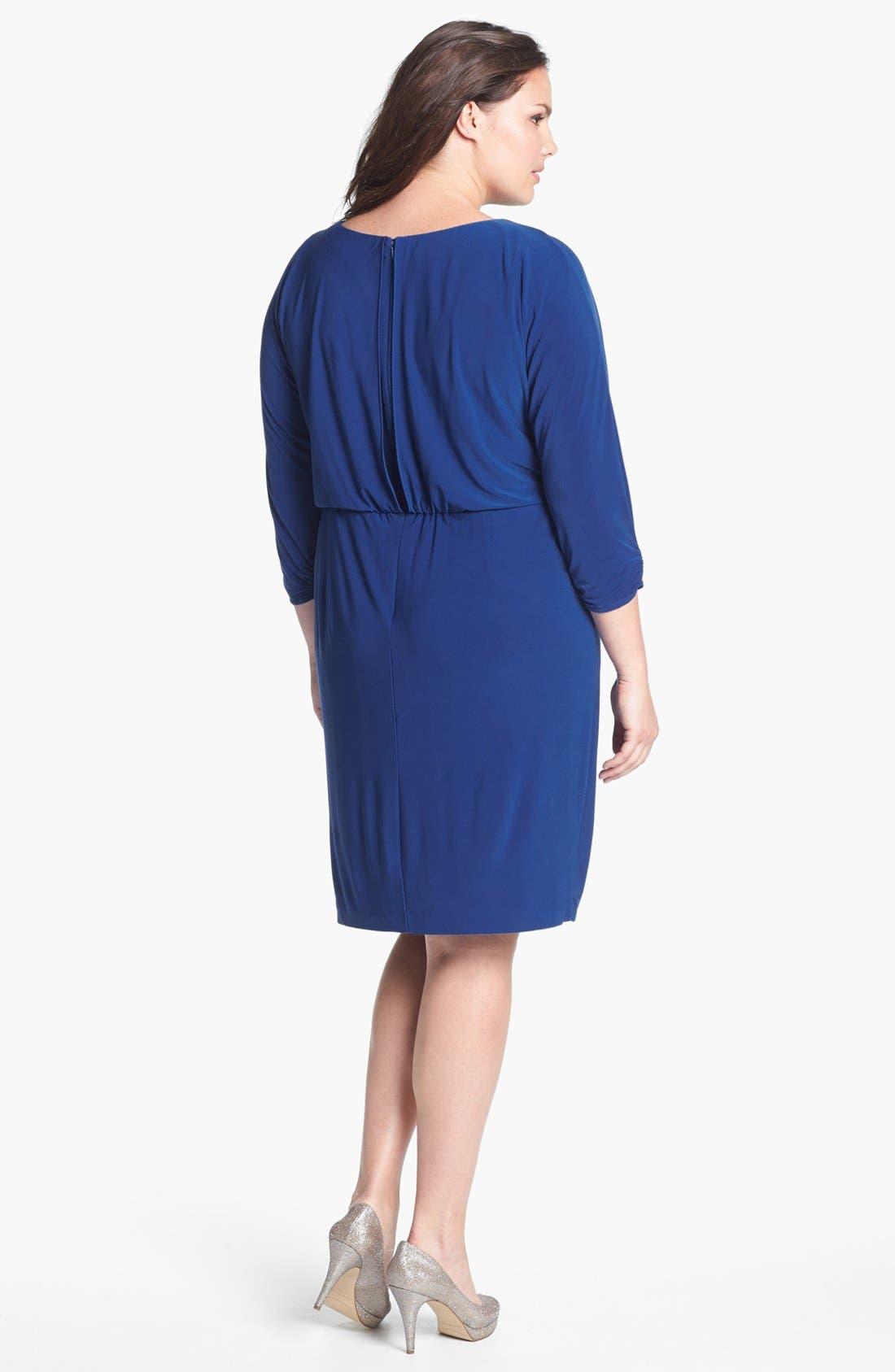 Alternate Image 2  - Alex Evenings Beaded Waist Jersey Blouson Dress (Plus Size)