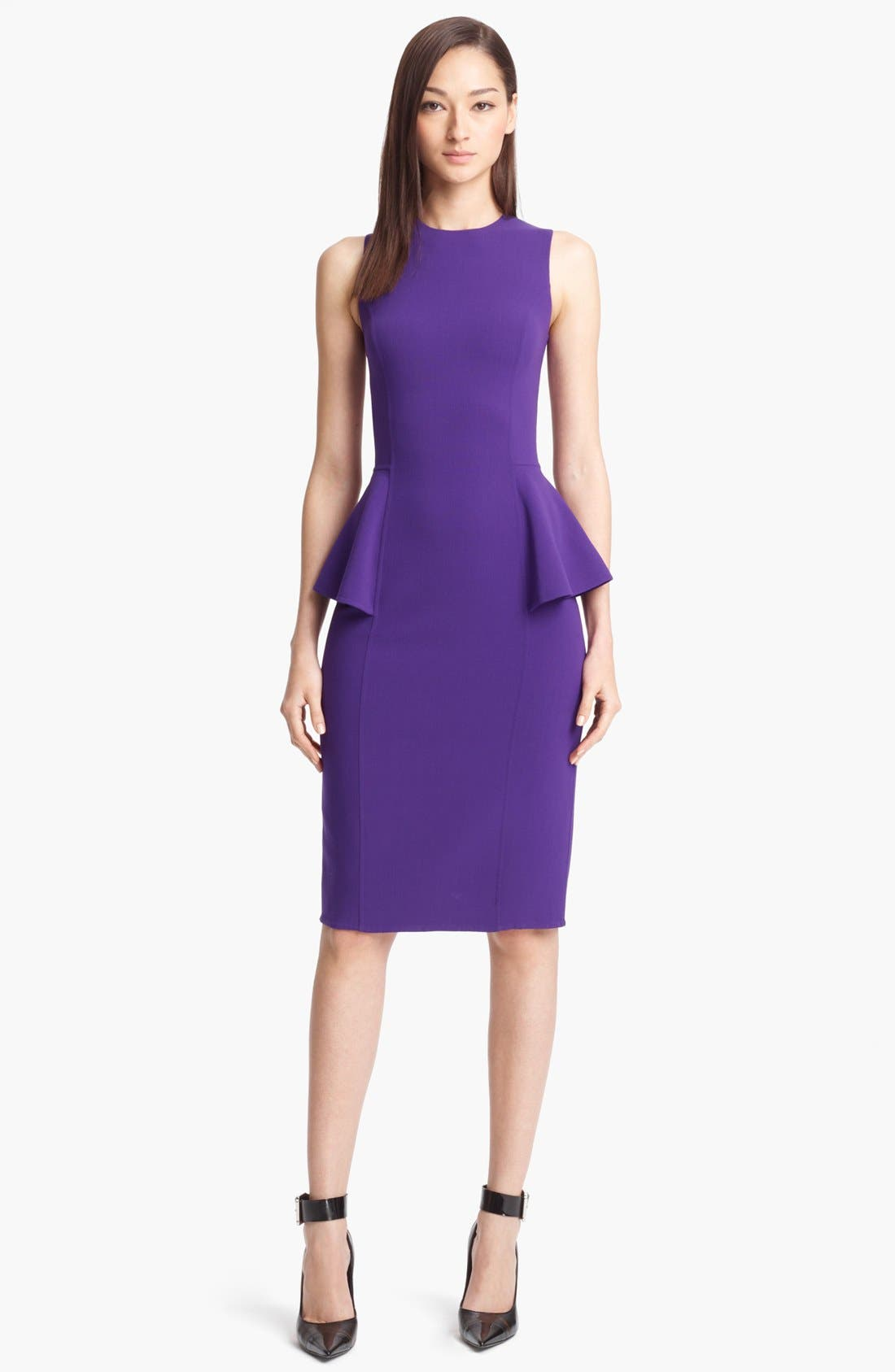 Alternate Image 1 Selected - Michael Kors Peplum Wool Crepe Sheath Dress