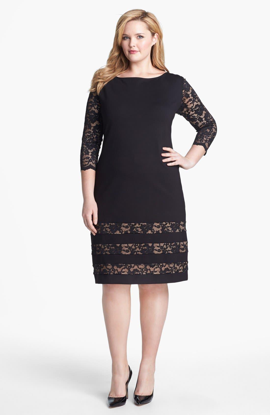 Main Image - ABS by Allen Schwartz Lace Detail Sheath Dress (Plus Size)