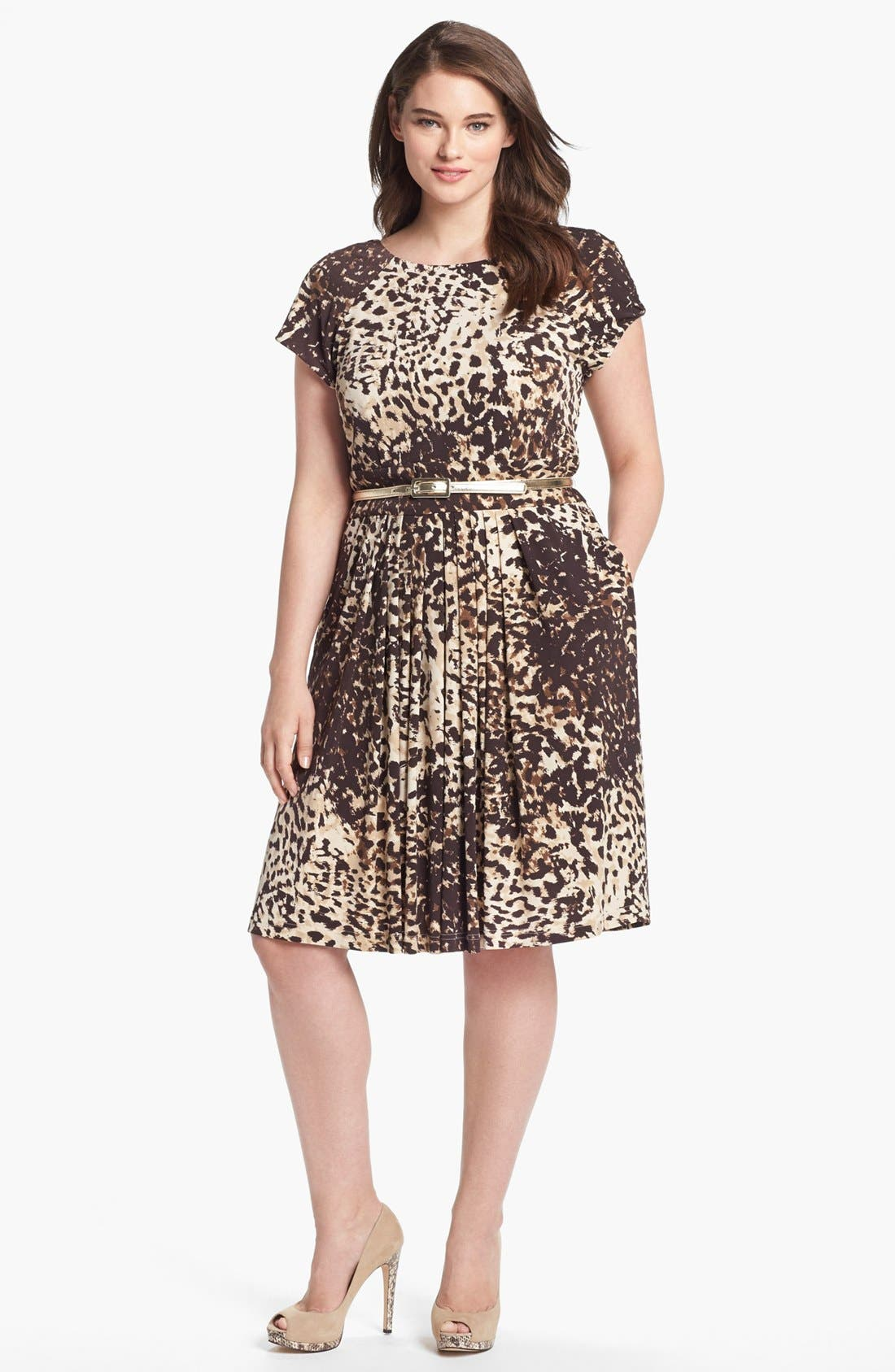 Alternate Image 1 Selected - Eliza J Print Jersey Fit & Flare Dress (Plus Size)
