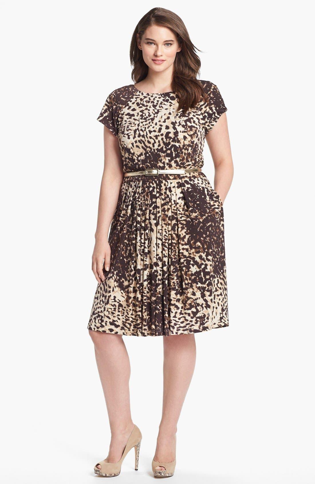 Main Image - Eliza J Print Jersey Fit & Flare Dress (Plus Size)