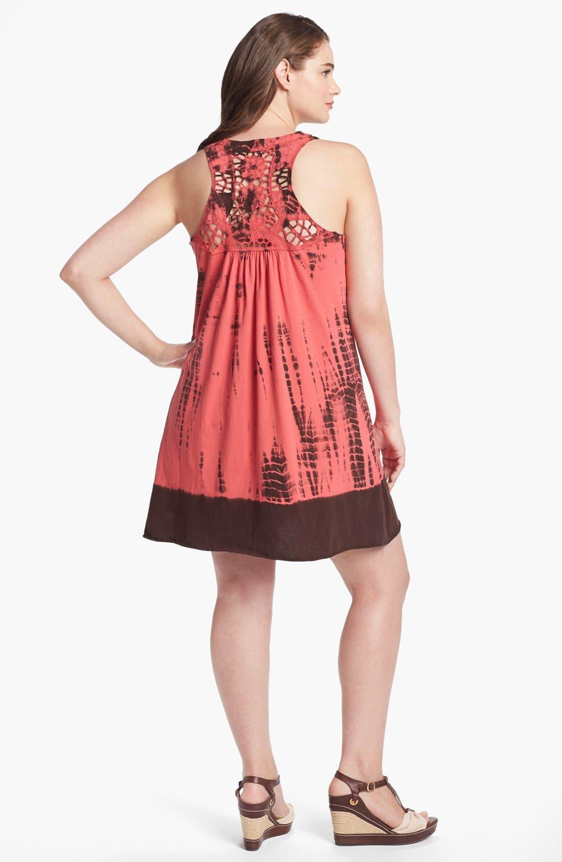 Alternate Image 2  - Pink Lotus Embellished Tie Dye Dress (Plus Size)