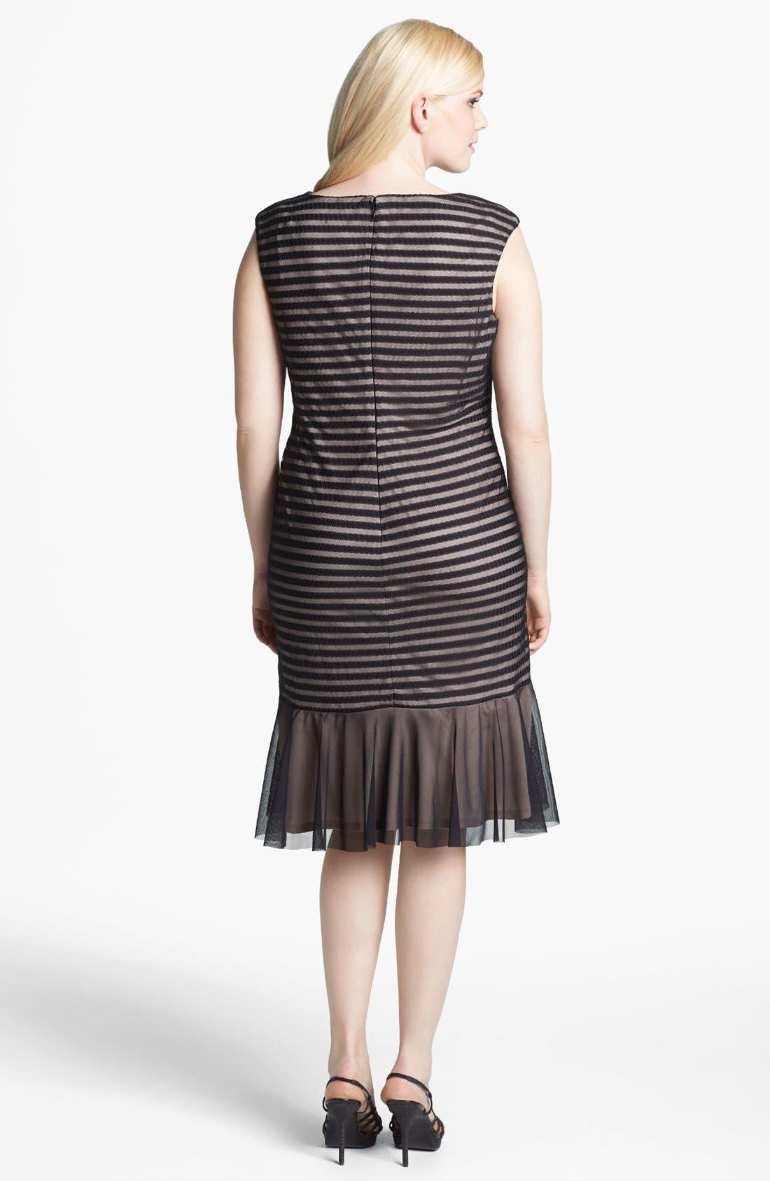 Alternate Image 2  - London Times Cable & Mesh Drop Waist Dress (Plus Size)