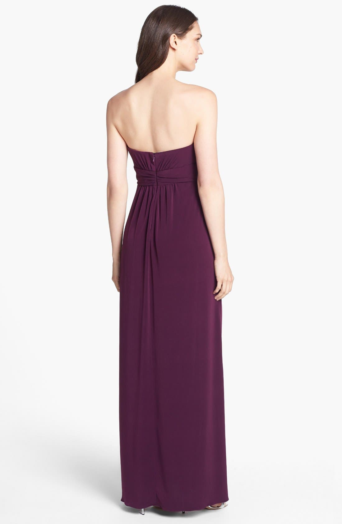 Alternate Image 2  - Amsale Strapless Draped Jersey Gown