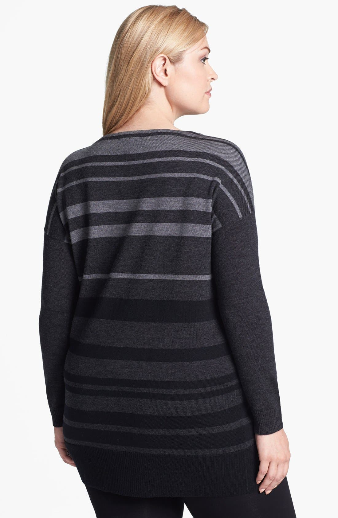 Alternate Image 2  - Eileen Fisher Stripe Tunic Sweater (Plus Size)