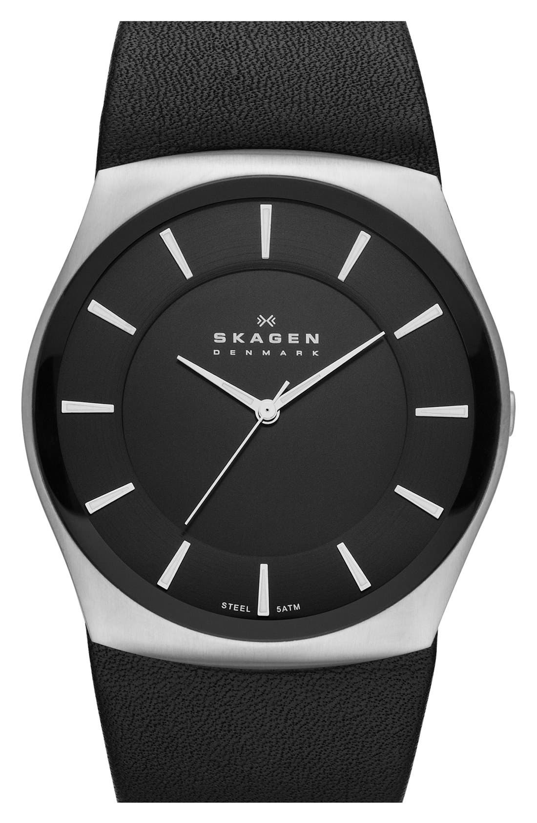 Alternate Image 1 Selected - Skagen 'Havene' Round Leather Strap Watch, 45mm