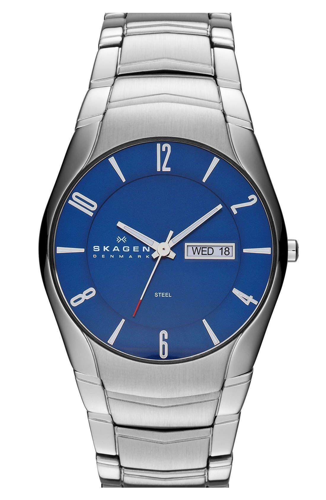 Alternate Image 1 Selected - Skagen Round Slim Link Bracelet Watch, 38mm