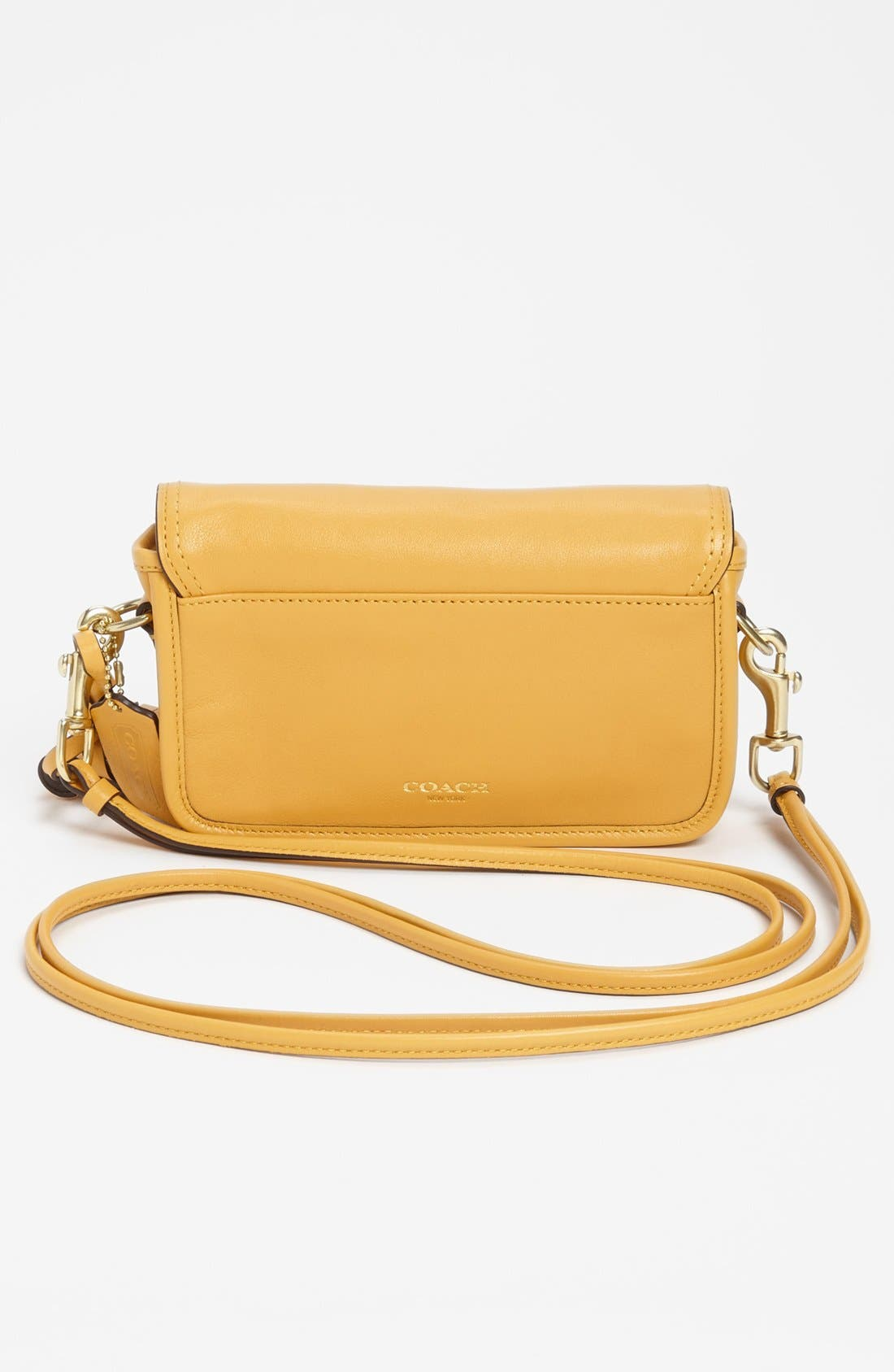 Leather Crossbody Bag,                             Alternate thumbnail 4, color,                             Mustard