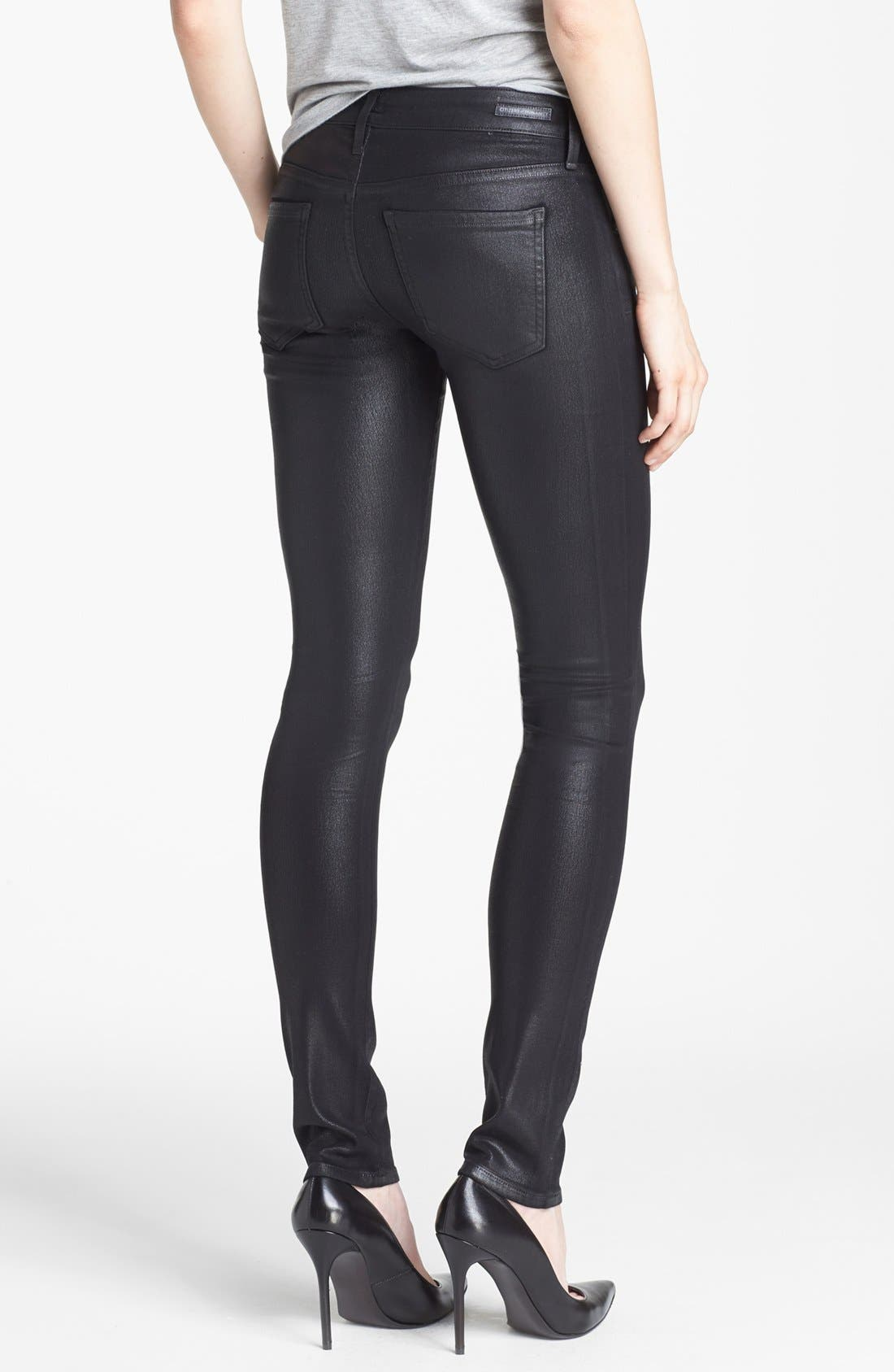 Alternate Image 2  - Citizens of Humanity 'Racer' Low Rise Coated Jeans (Black Coated)