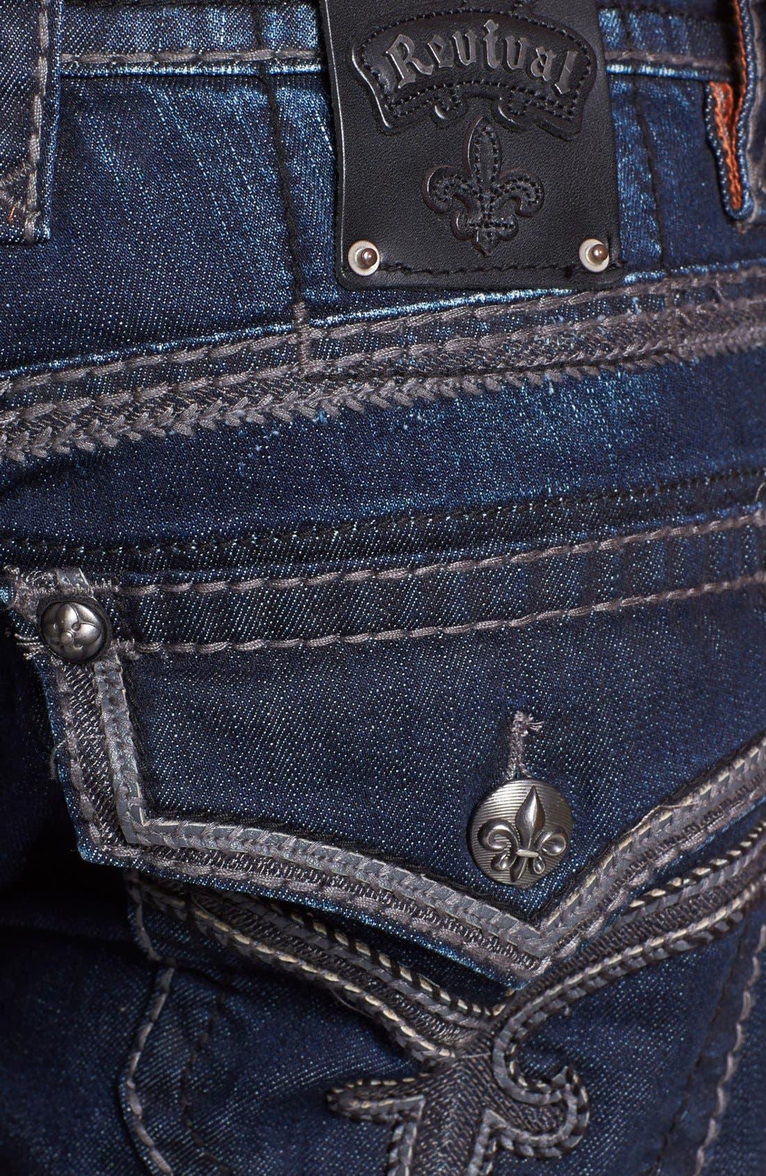 Alternate Image 4  - Rock Revival 'Ben' Alternative Straight Leg Jeans (Dark Blue )