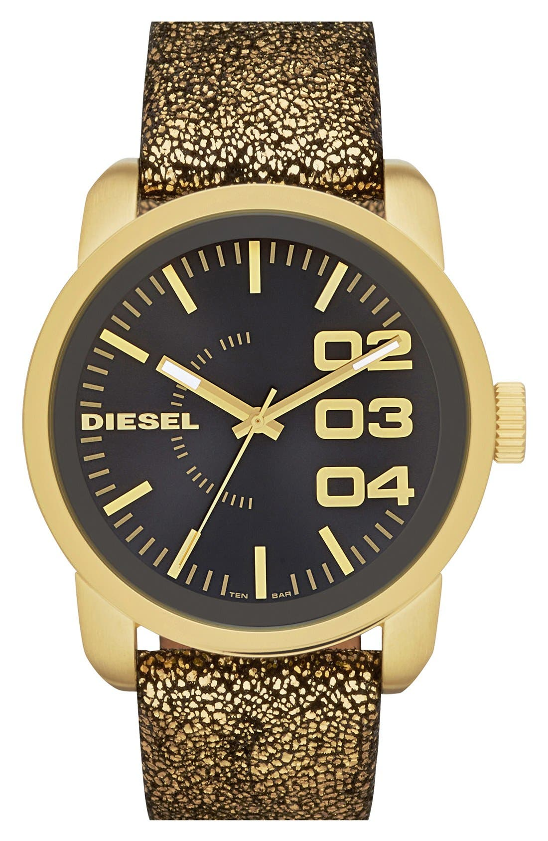 Alternate Image 1 Selected - DIESEL® 'Franchise' Metallic Leather Strap Watch, 46mm