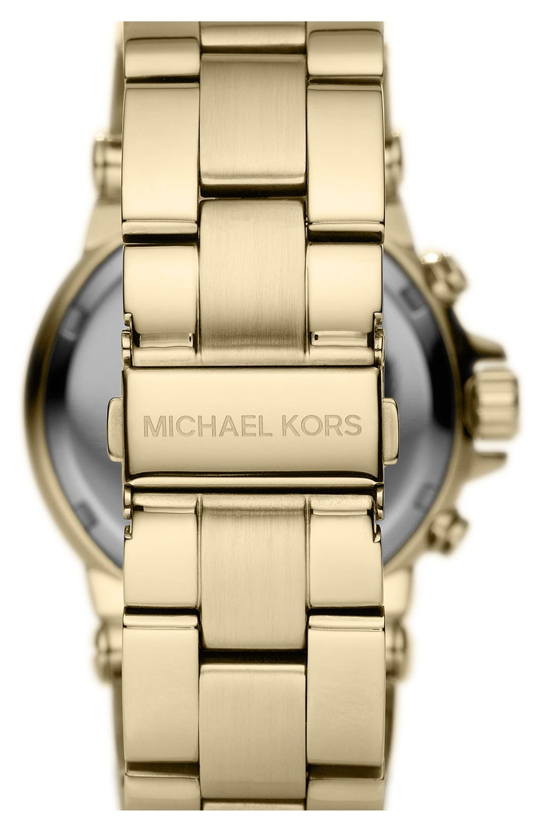 Michael Kors 'Dylan' Crystal Bezel Chronograph Watch, 43mm,                             Alternate thumbnail 2, color,                             Gold