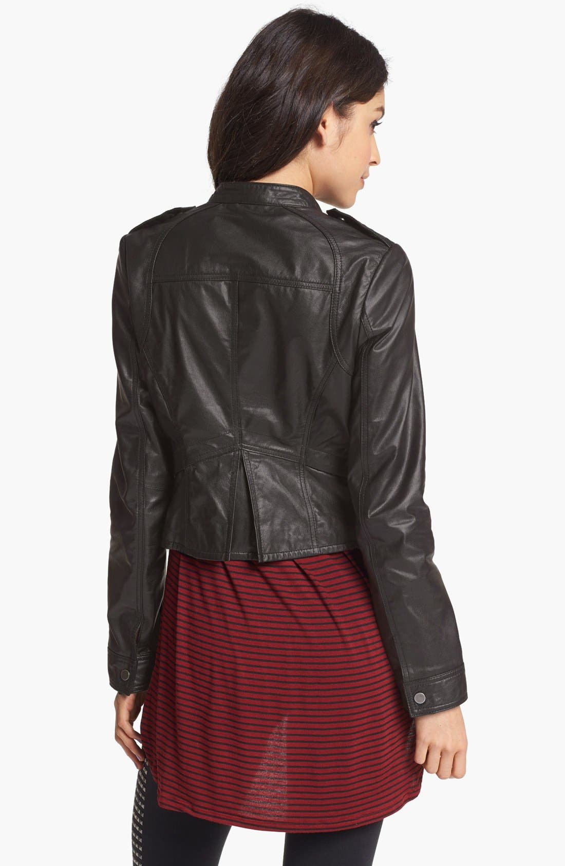 Alternate Image 2  - Collection B Leather Moto Jacket (Juniors) (Online Only)
