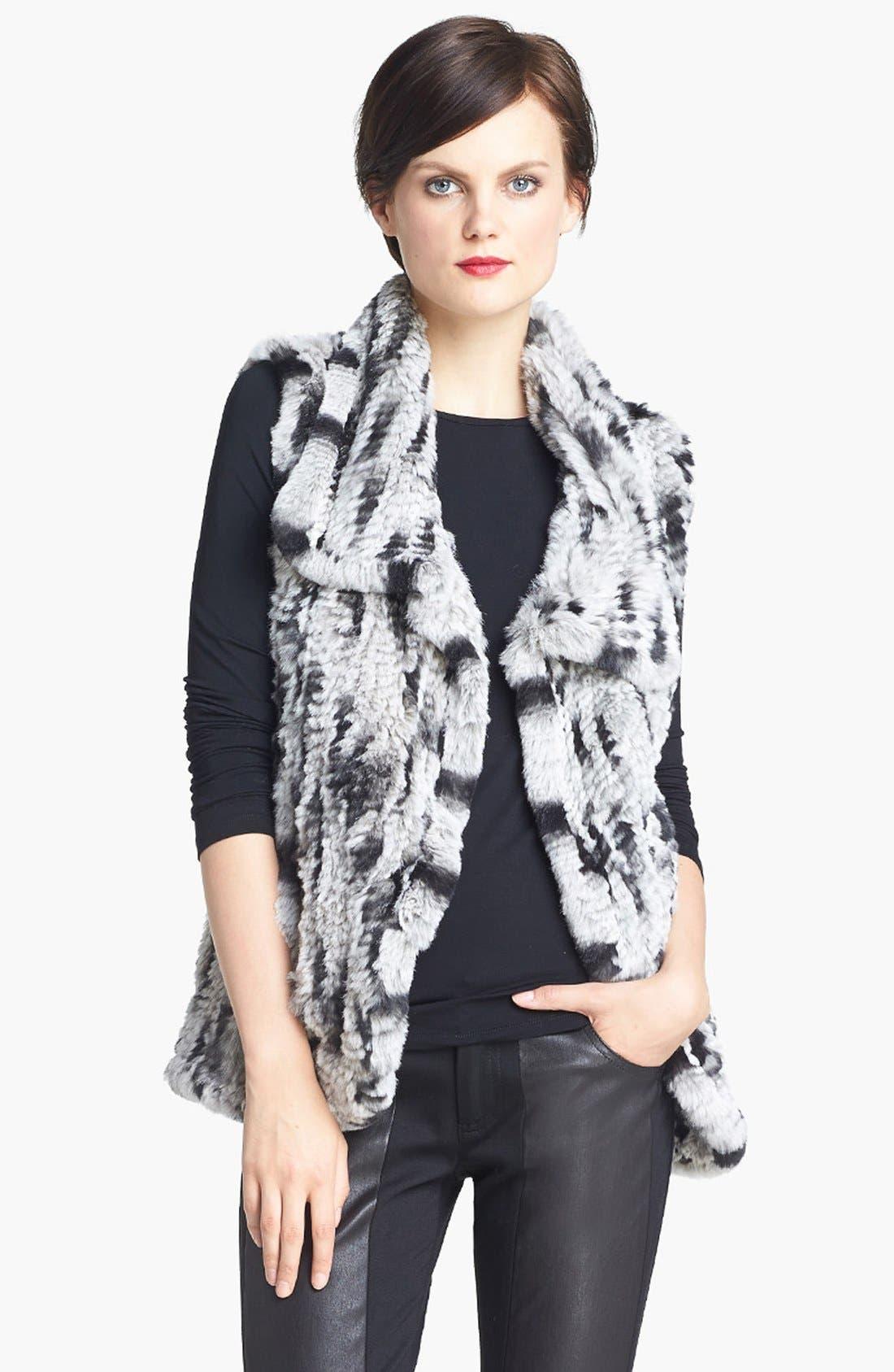 Main Image - Alice + Olivia 'Celine' Sleeveless Genuine Rabbit Fur Vest