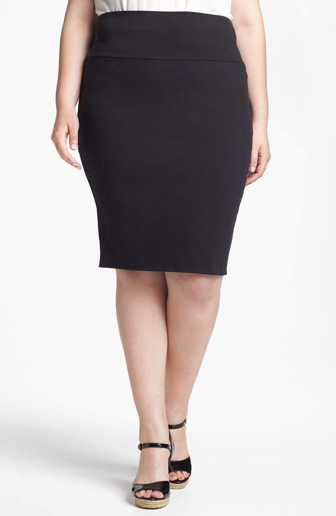 Main Image - Lily White Pencil Skirt (Juniors Plus)