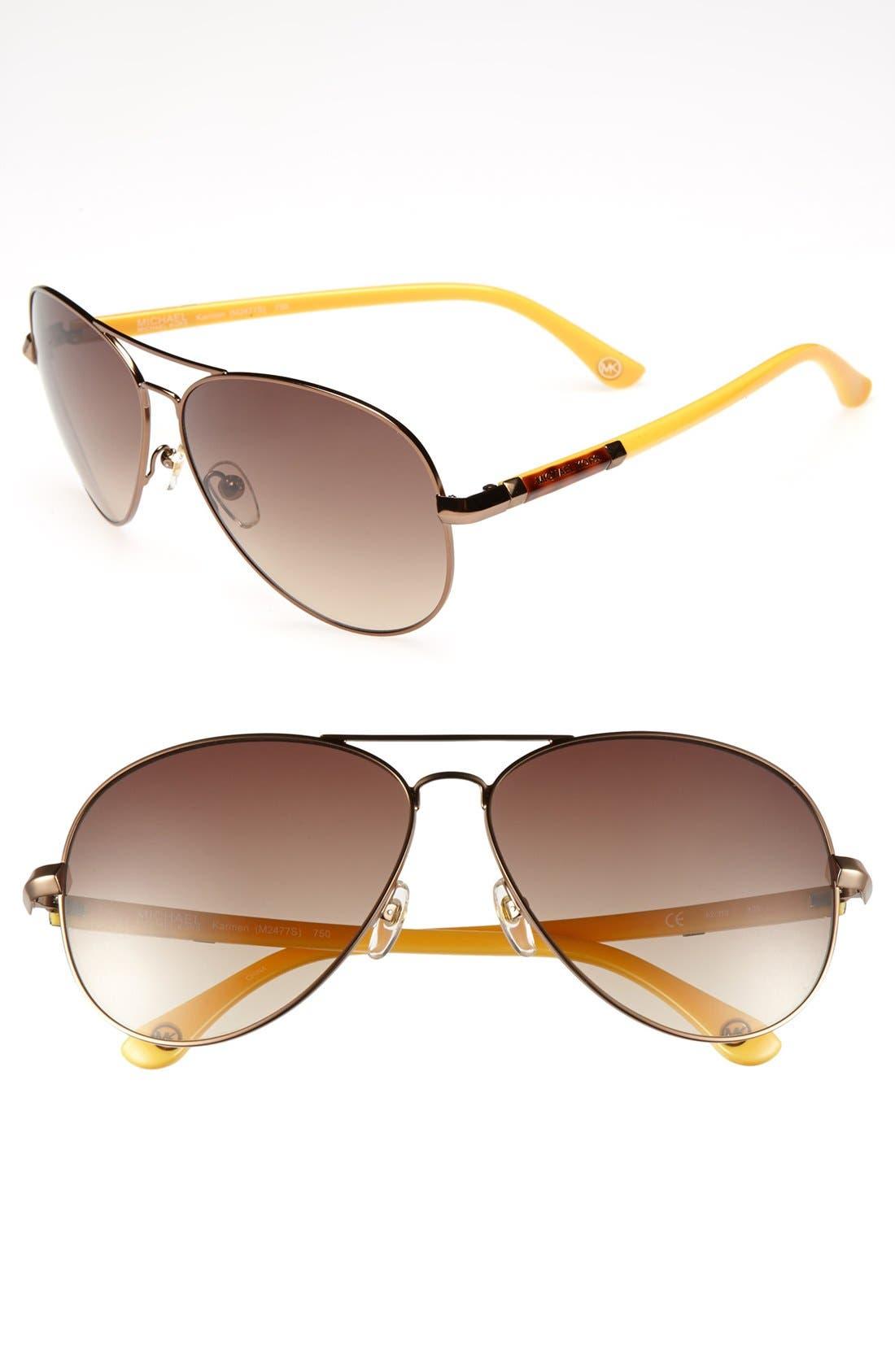 Alternate Image 1 Selected - MICHAEL Michael Kors 62mm Metal Aviator Sunglasses