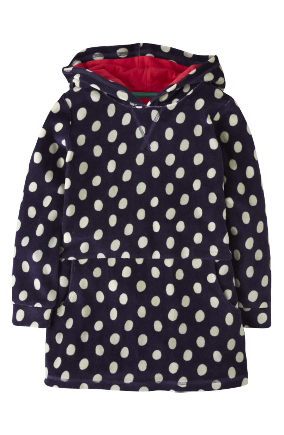 Main Image - Mini Boden Hooded Velour Dress (Little Girls & Big Girls)