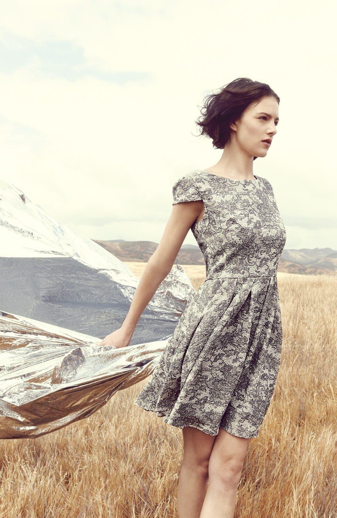 Alternate Image 5  - Betsey Johnson Lace Print Fit & Flare Dress