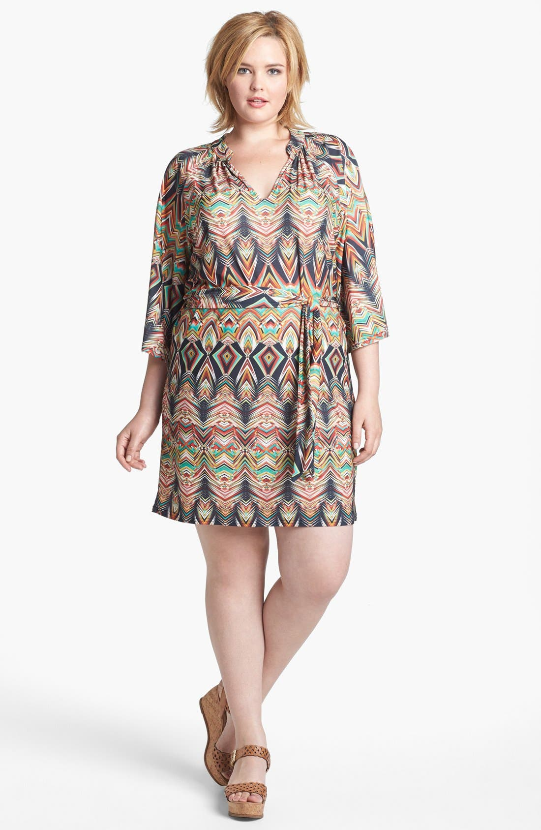 Alternate Image 1 Selected - Viereck Print Belted Tunic Dress (Plus Size)