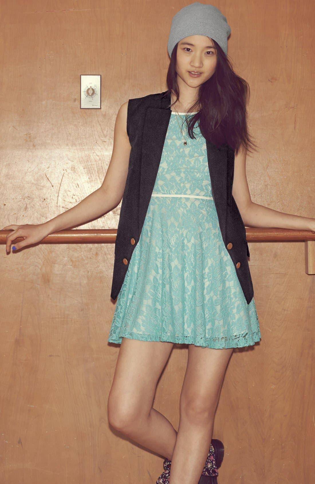 Alternate Image 4  - Faux Leather Trim Lace Skater Dress