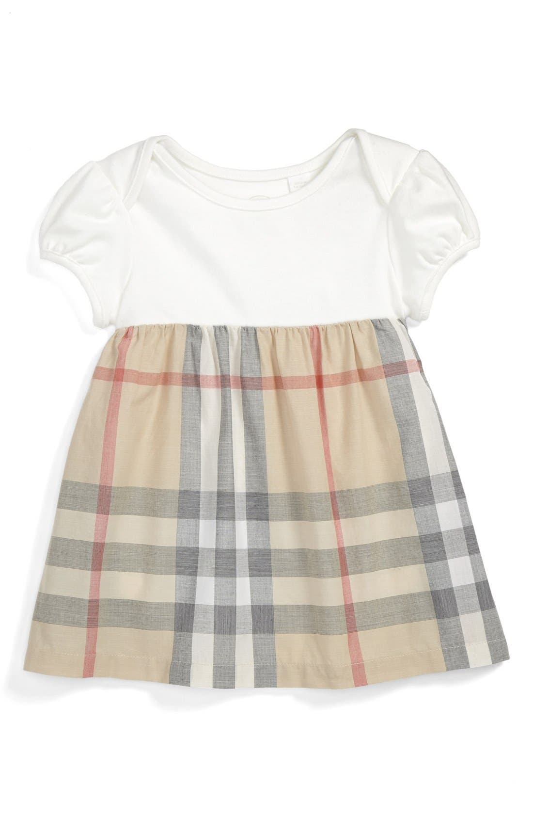 Main Image - Burberry 'Cherrylina' Knit & Woven Dress (Baby Girls)