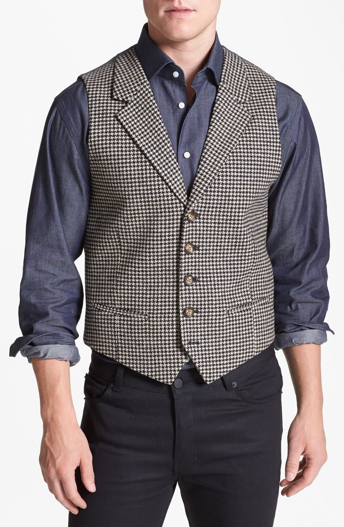 Main Image - Wallin & Bros. Trim Fit Houndstooth Vest