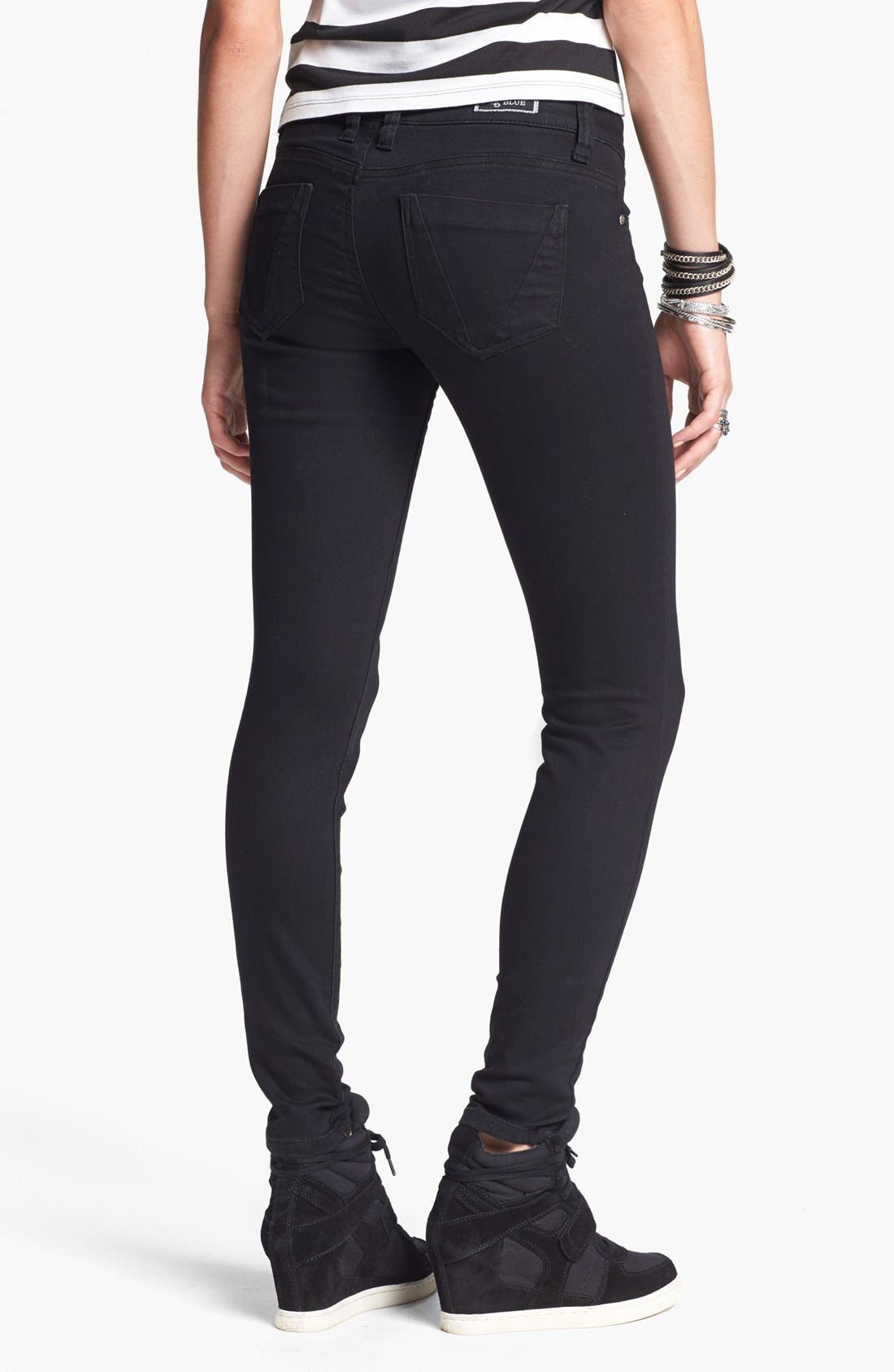 Alternate Image 2  - STS Blue Skinny Jeans (Black) (Juniors)