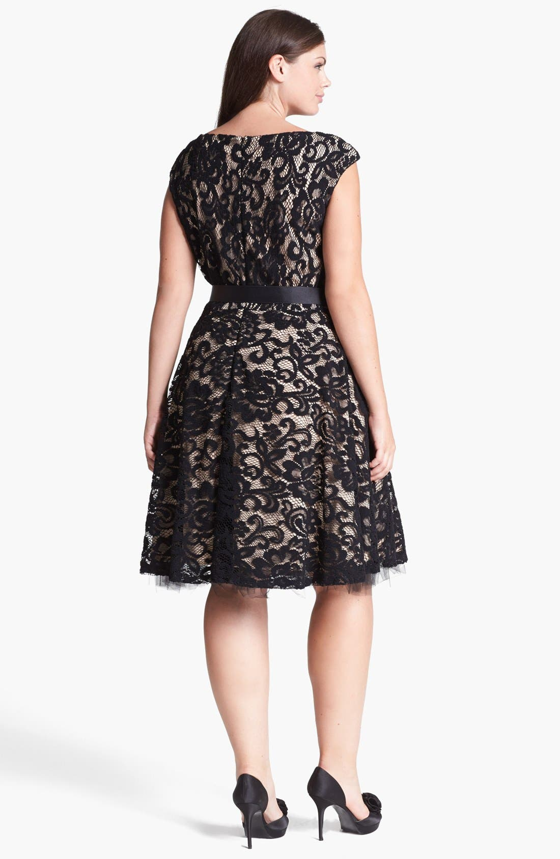 Alternate Image 2  - Betsy & Adam Lace Fit & Flare Dress (Plus Size)